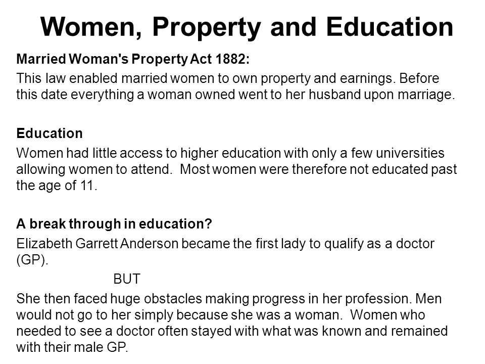 Women, Property and Education
