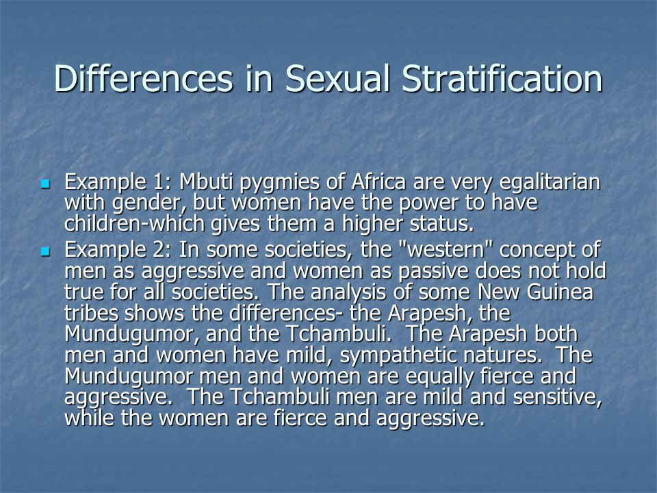 Differences in Sexual Stratification