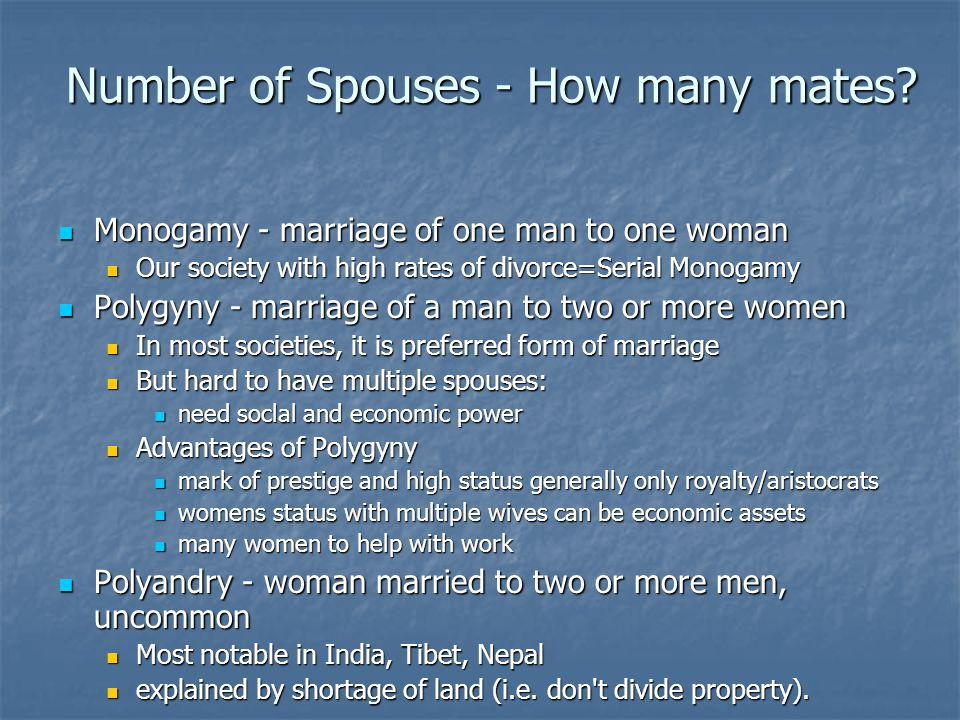 Number of Spouses - How many mates