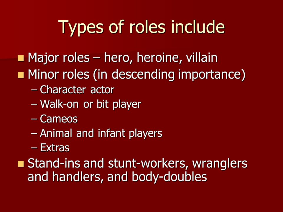 Types of roles include Major roles – hero, heroine, villain
