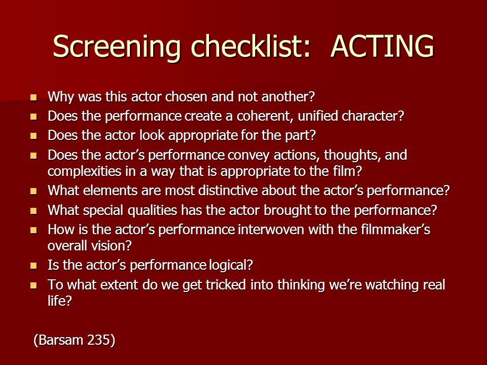Screening checklist: ACTING