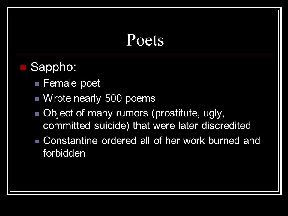 Poets Sappho: Female poet Wrote nearly 500 poems