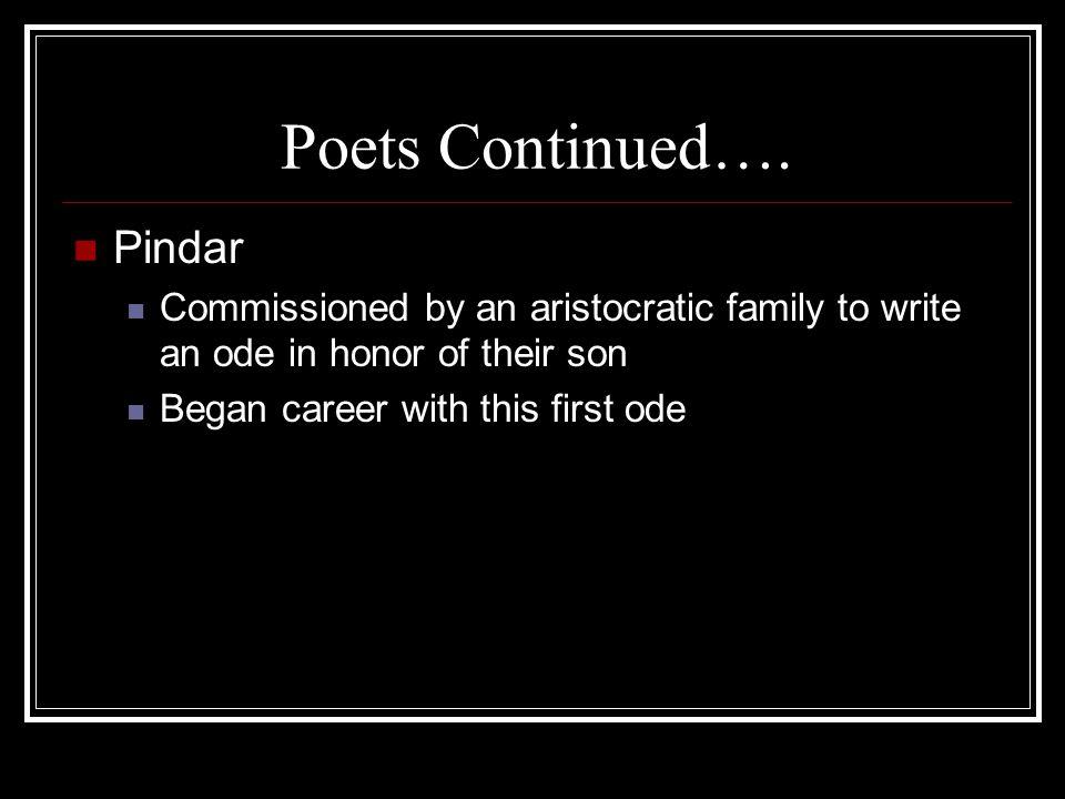 Poets Continued…. Pindar