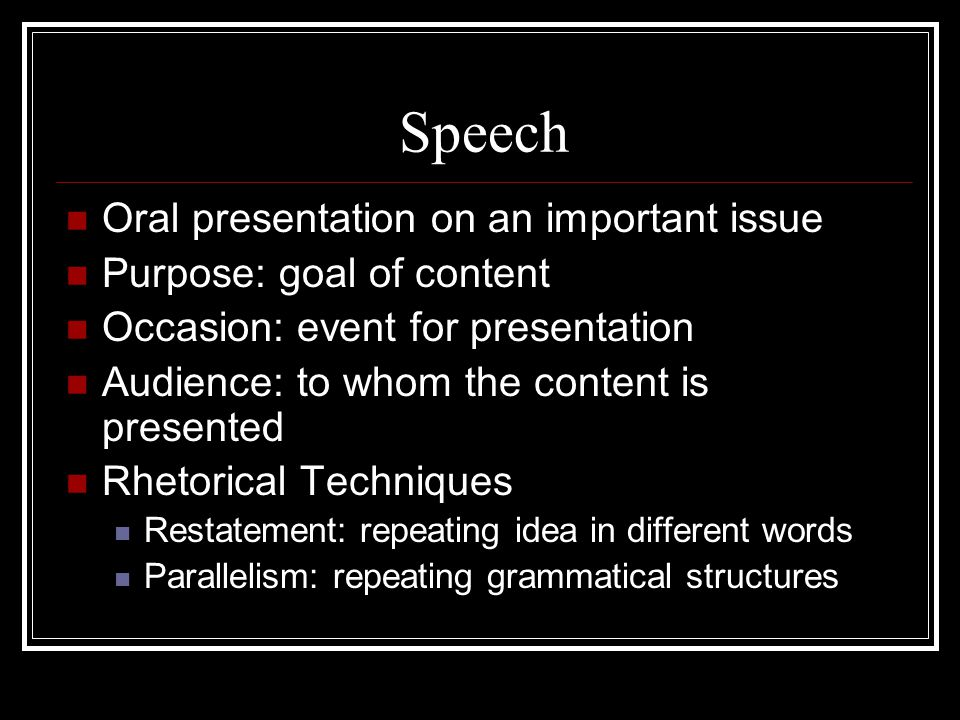 Speech Oral presentation on an important issue