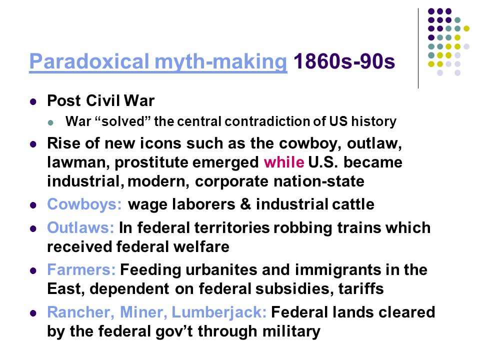 Paradoxical myth-making 1860s-90s