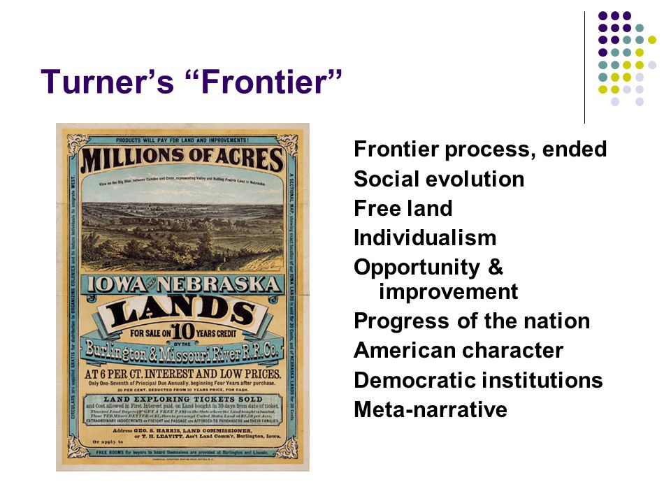 Turner's Frontier Frontier process, ended Social evolution Free land