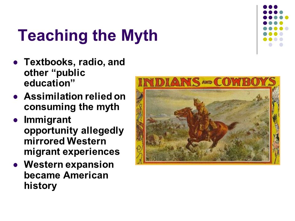 Teaching the Myth Textbooks, radio, and other public education