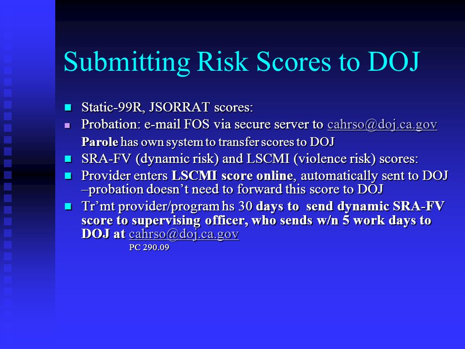 Submitting Risk Scores to DOJ