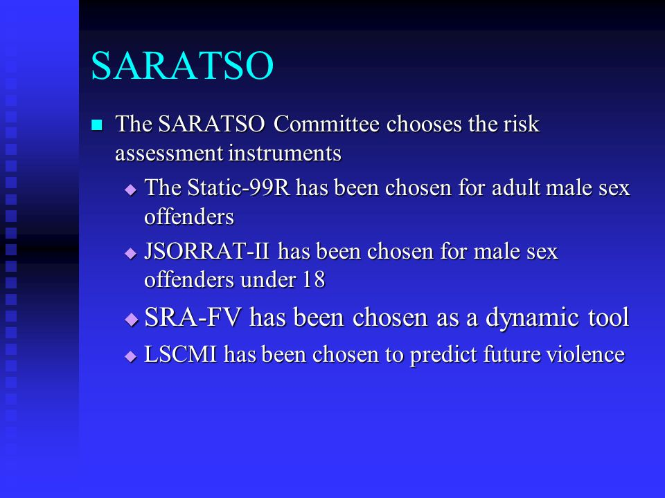 SARATSO SRA-FV has been chosen as a dynamic tool