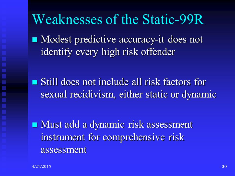 Weaknesses of the Static-99R