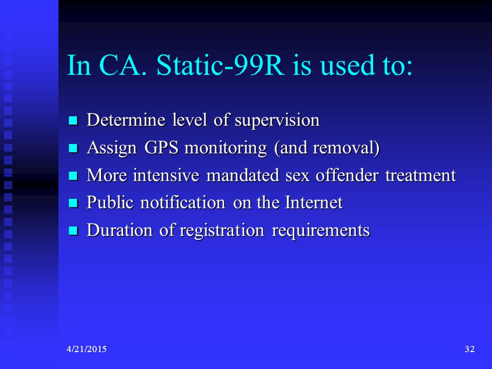 In CA. Static-99R is used to: