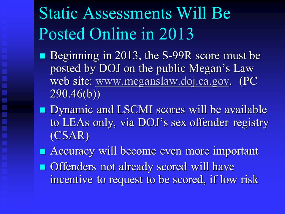 Static Assessments Will Be Posted Online in 2013