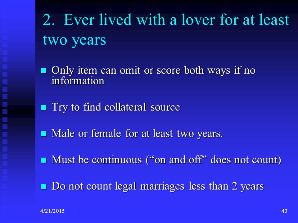 2. Ever lived with a lover for at least two years
