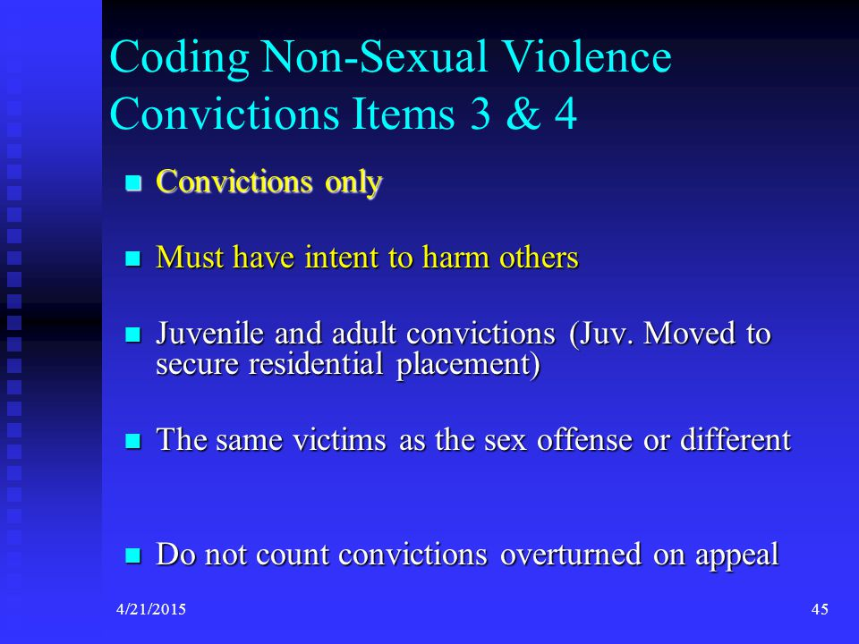 Coding Non-Sexual Violence Convictions Items 3 & 4