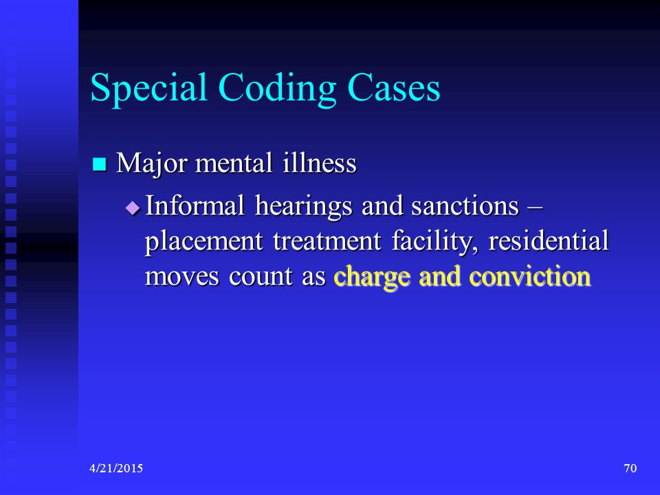 Special Coding Cases Major mental illness