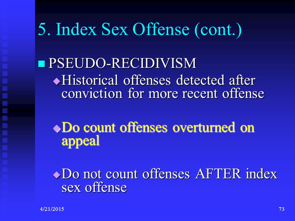 5. Index Sex Offense (cont.)