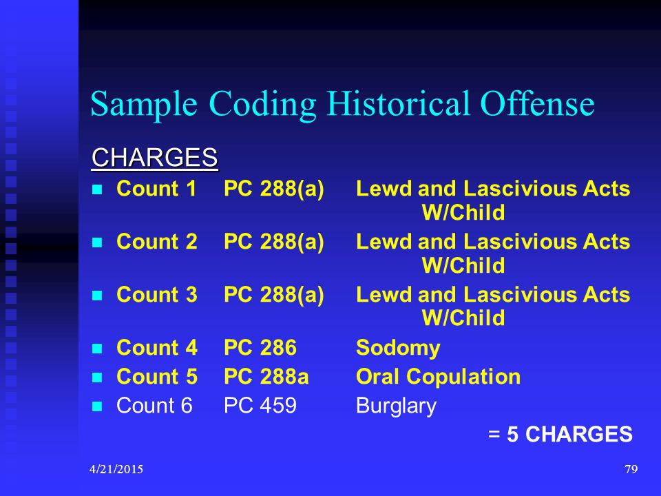 Sample Coding Historical Offense