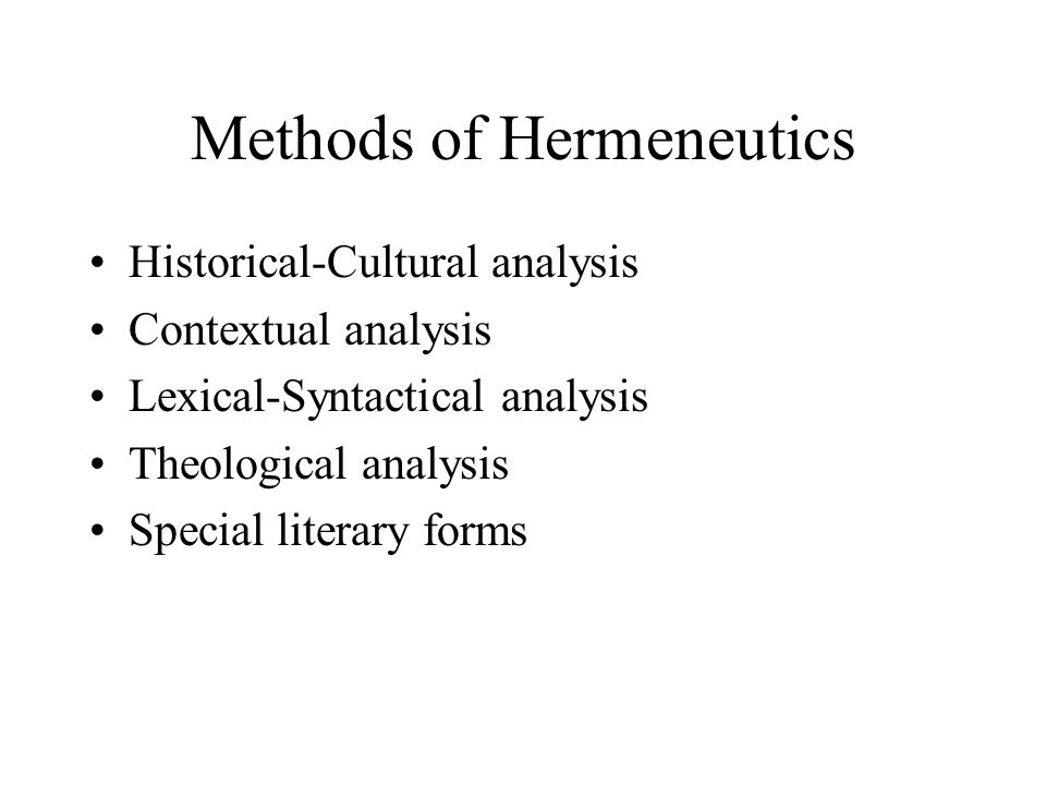 Methods of Hermeneutics