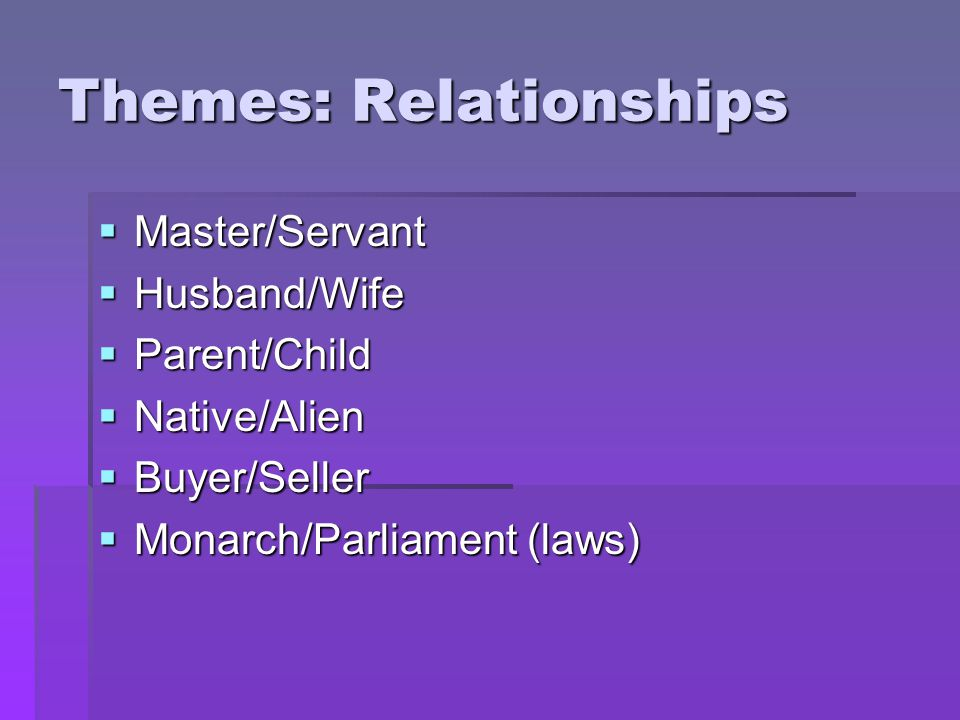 Themes: Relationships