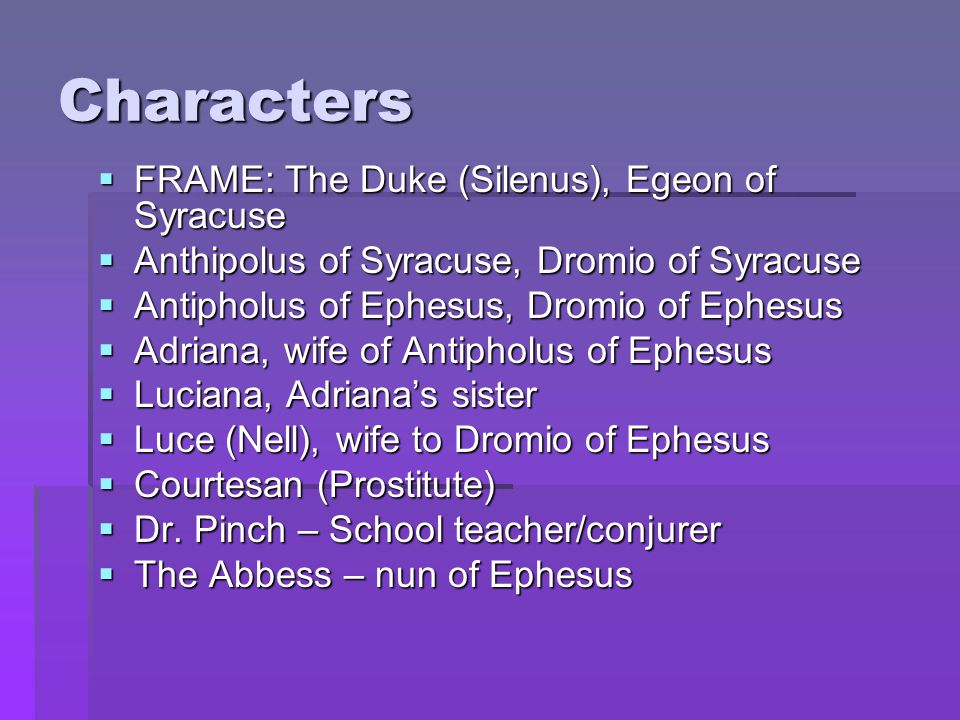 Characters FRAME: The Duke (Silenus), Egeon of Syracuse