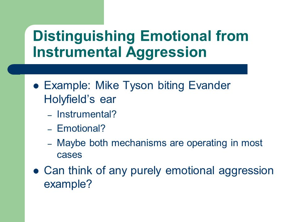 Distinguishing Emotional from Instrumental Aggression