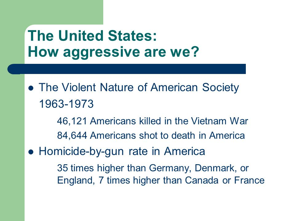 The United States: How aggressive are we