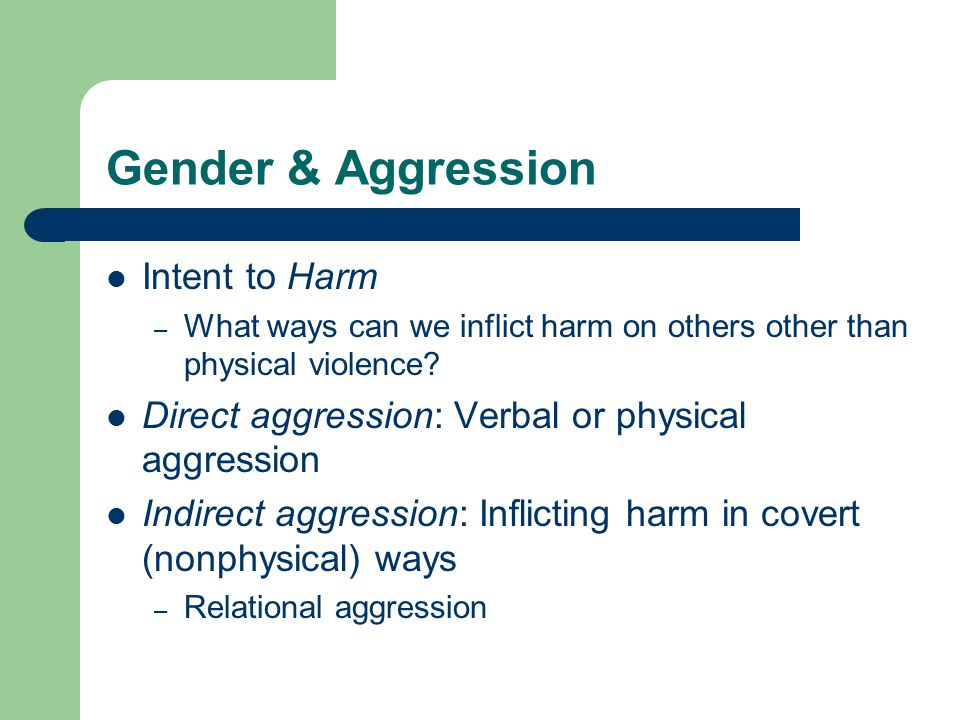Gender & Aggression Intent to Harm