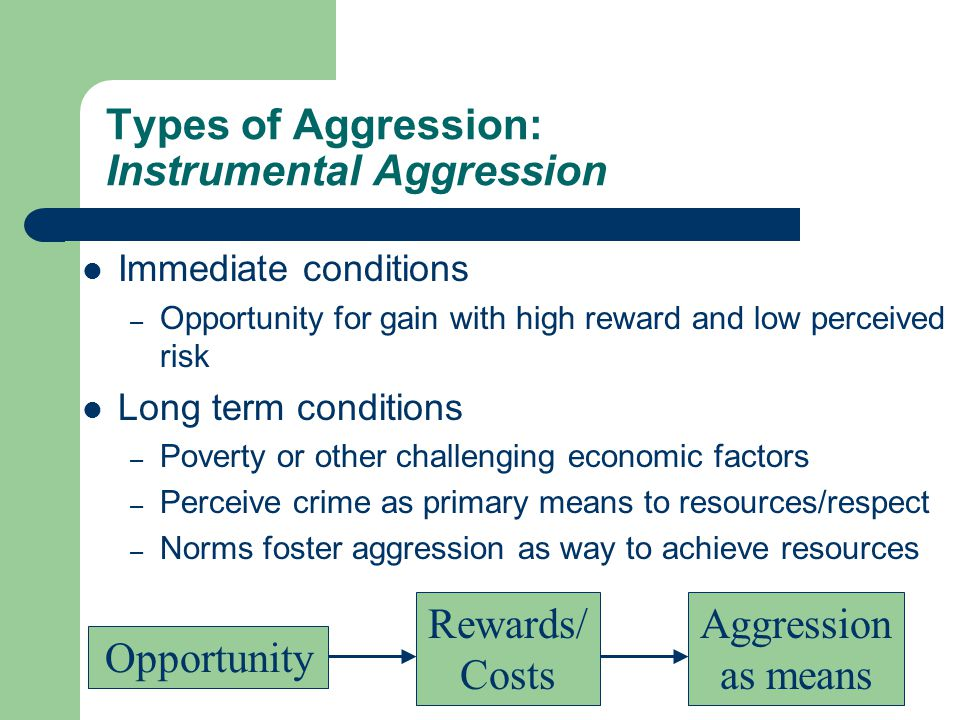 Types of Aggression: Instrumental Aggression