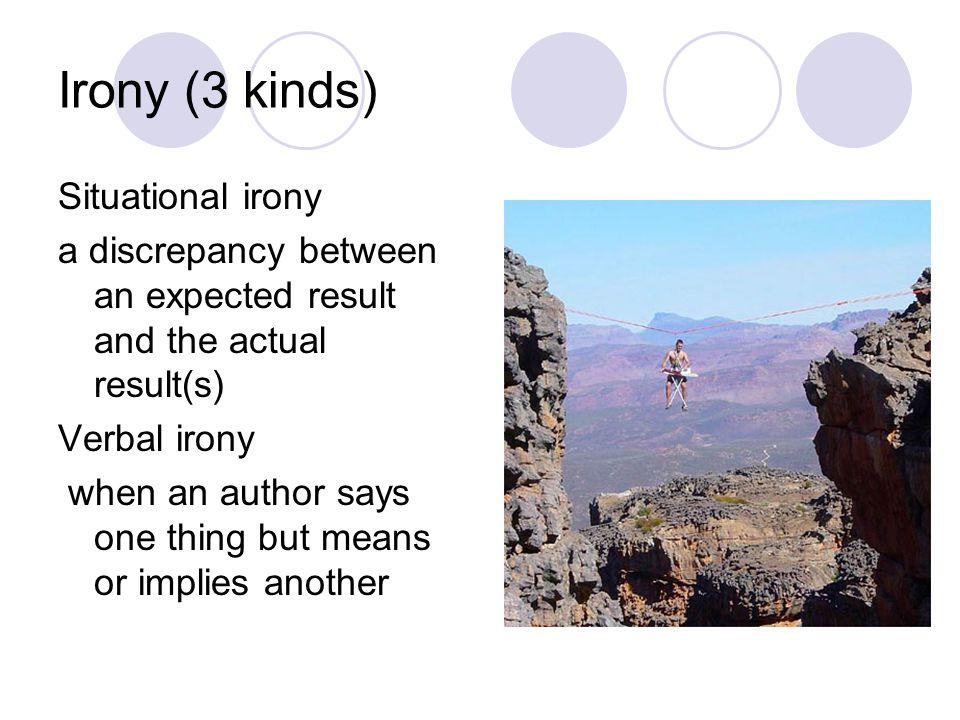 Irony (3 kinds) Situational irony