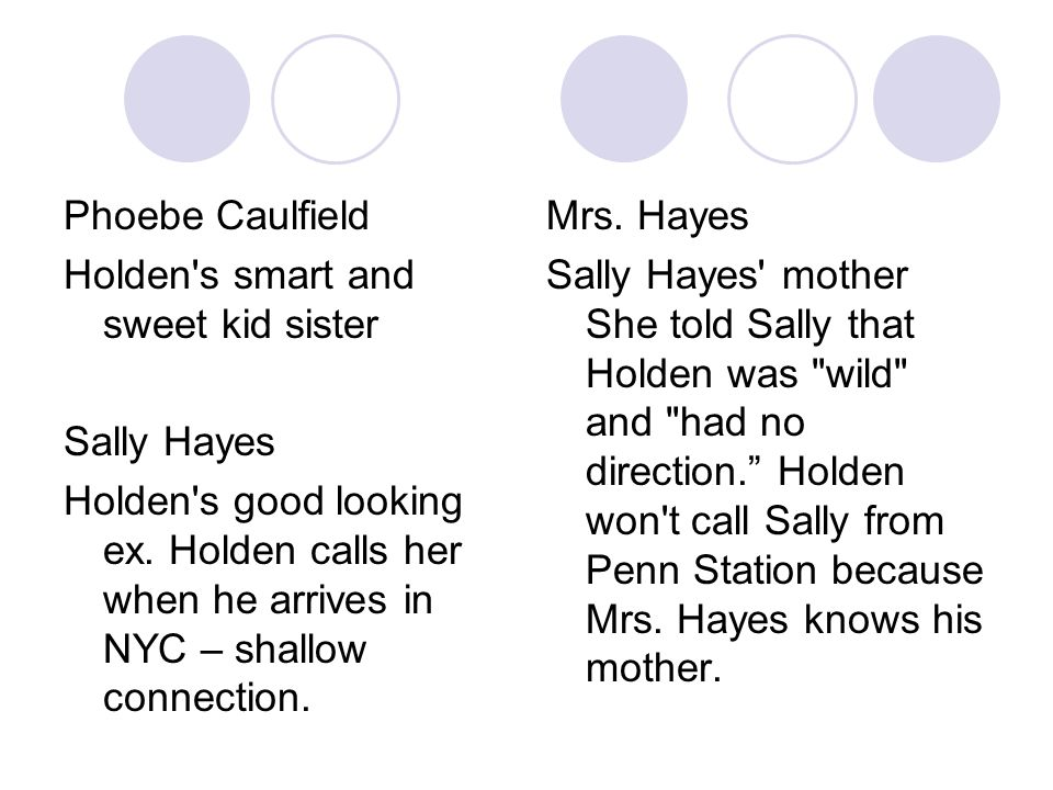 Phoebe Caulfield Holden s smart and sweet kid sister. Sally Hayes.