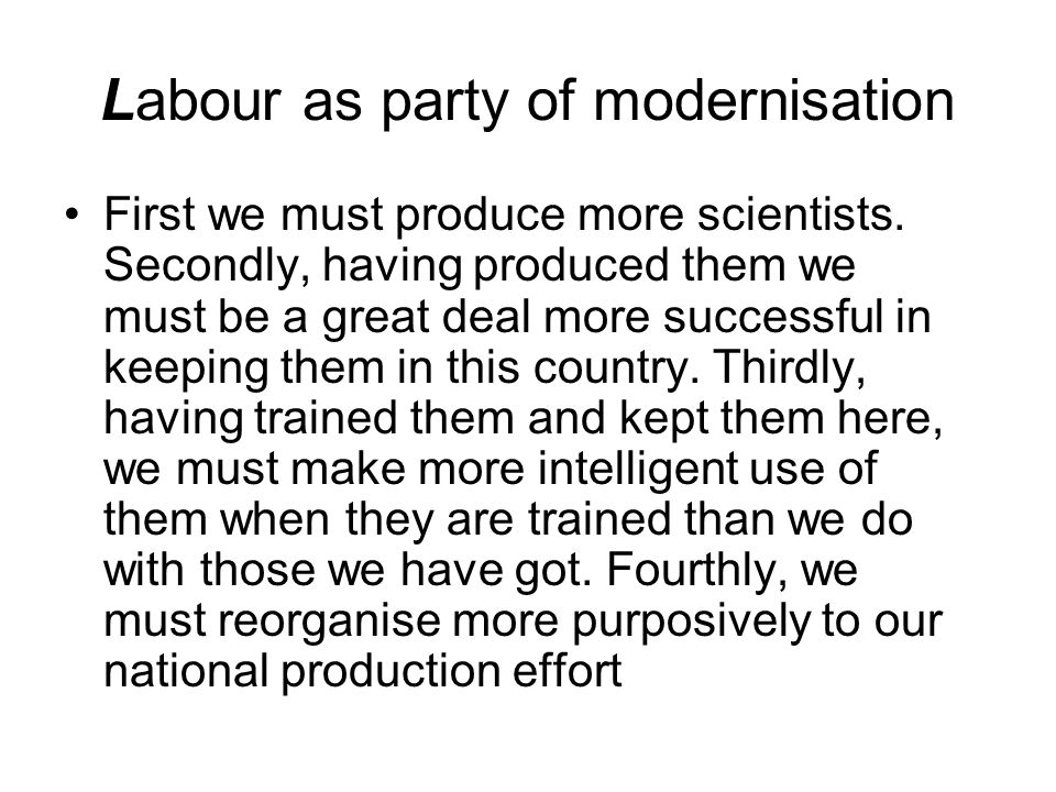 Labour as party of modernisation