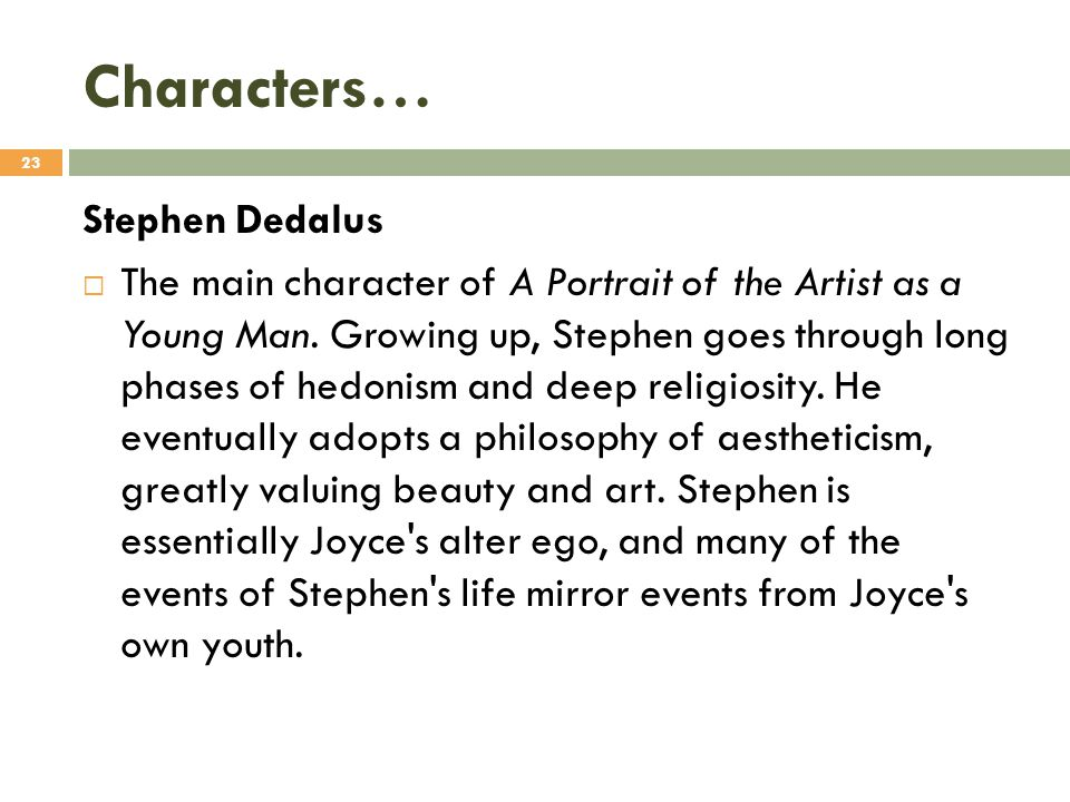 Characters… Stephen Dedalus