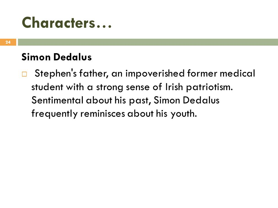 Characters… Simon Dedalus