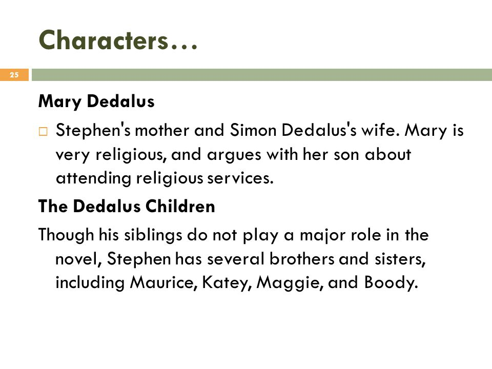 Characters… Mary Dedalus