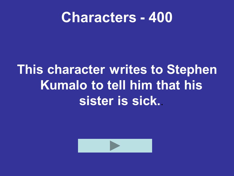 Characters - 400 This character writes to Stephen Kumalo to tell him that his sister is sick..