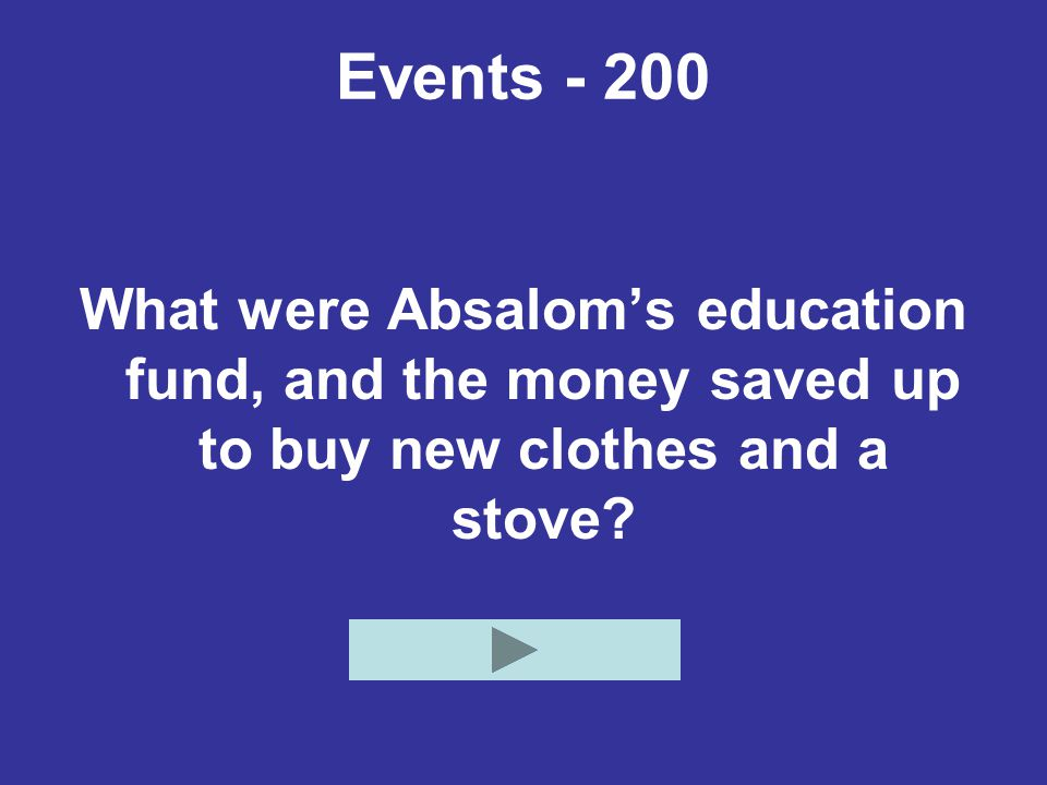 Events - 200 What were Absalom's education fund, and the money saved up to buy new clothes and a stove