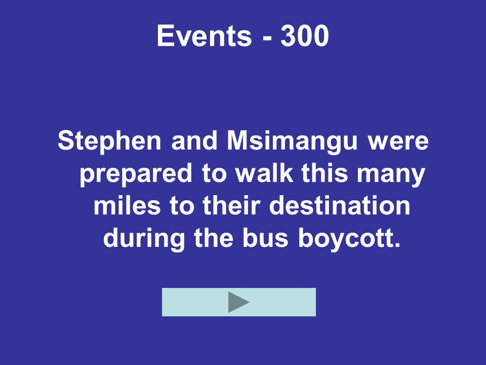 Events - 300 Stephen and Msimangu were prepared to walk this many miles to their destination during the bus boycott.