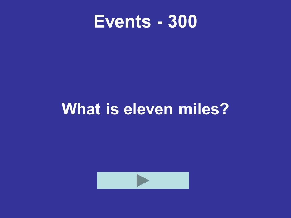 Events - 300 What is eleven miles