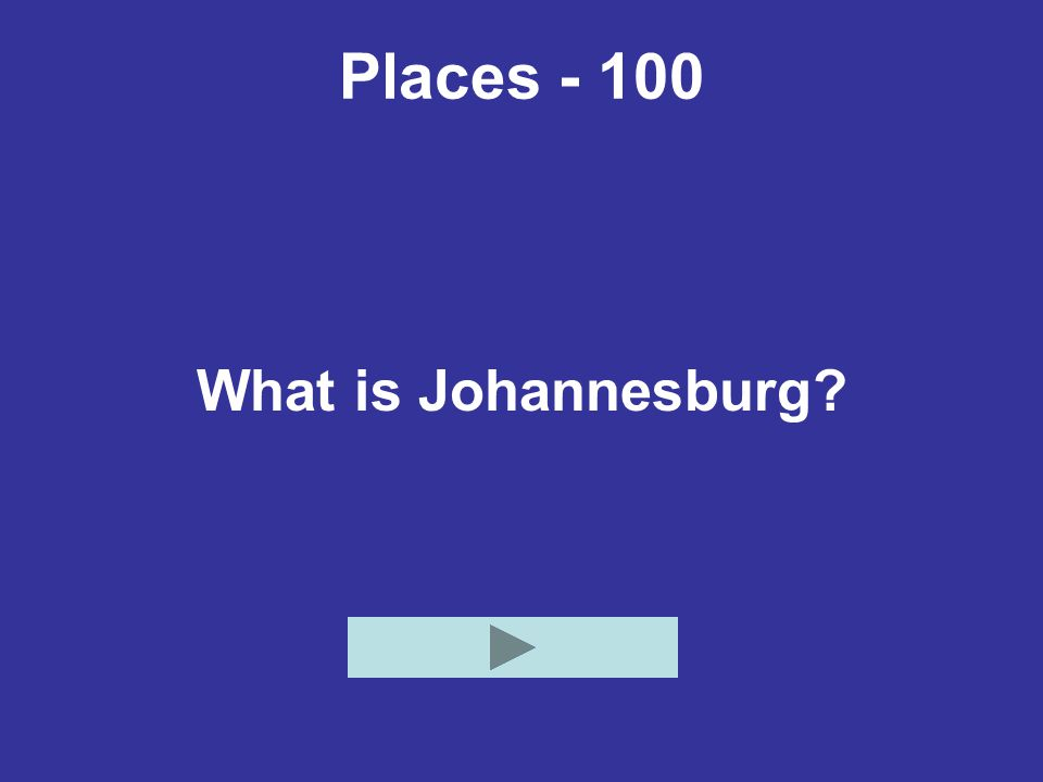 Places - 100 What is Johannesburg