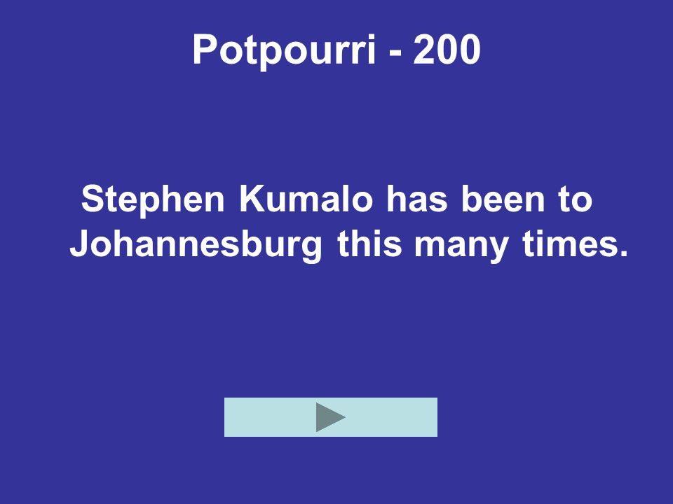 Stephen Kumalo has been to Johannesburg this many times.