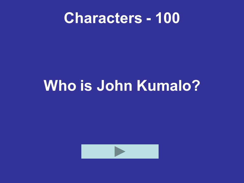 Characters - 100 Who is John Kumalo