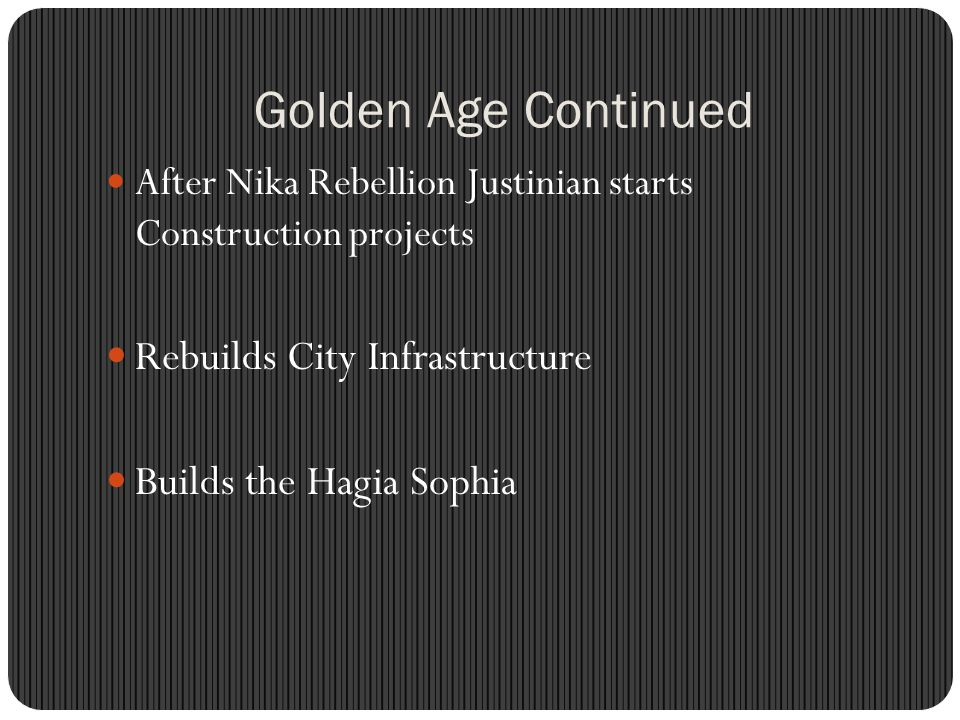 Golden Age Continued Rebuilds City Infrastructure