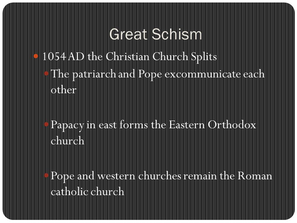 Great Schism 1054 AD the Christian Church Splits