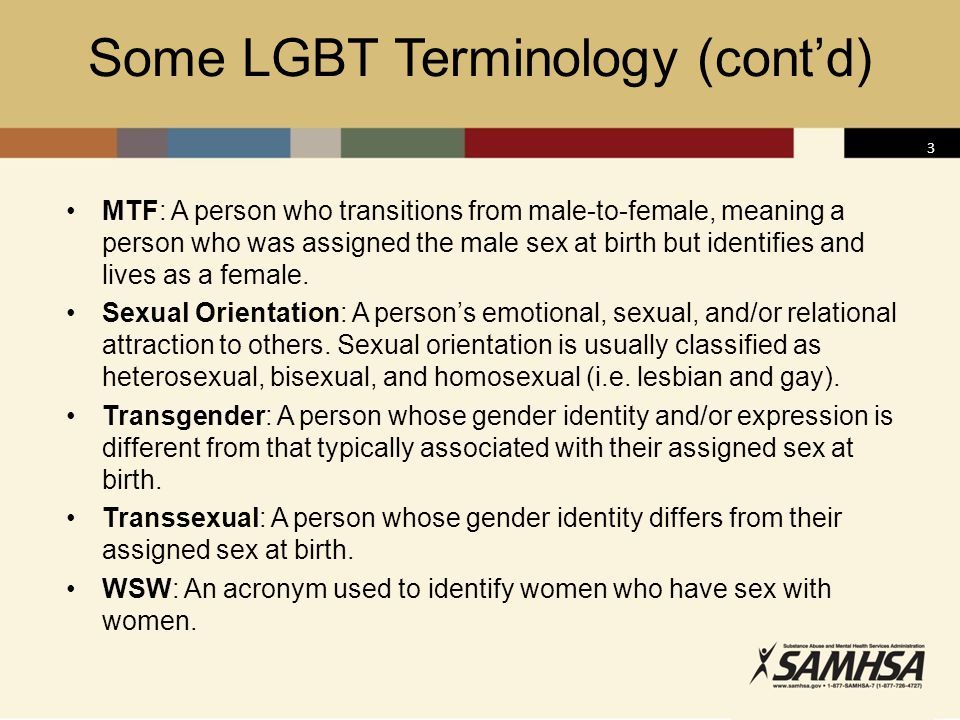 Some LGBT Terminology (cont'd)