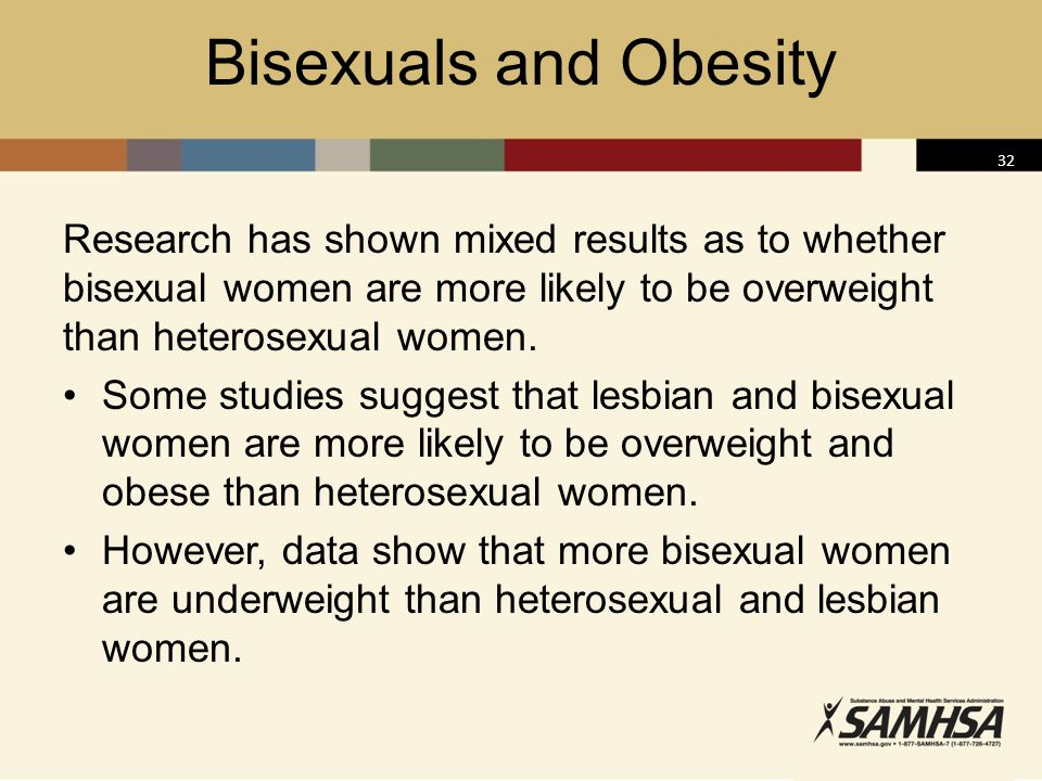 Bisexuals and Obesity Research has shown mixed results as to whether bisexual women are more likely to be overweight than heterosexual women.