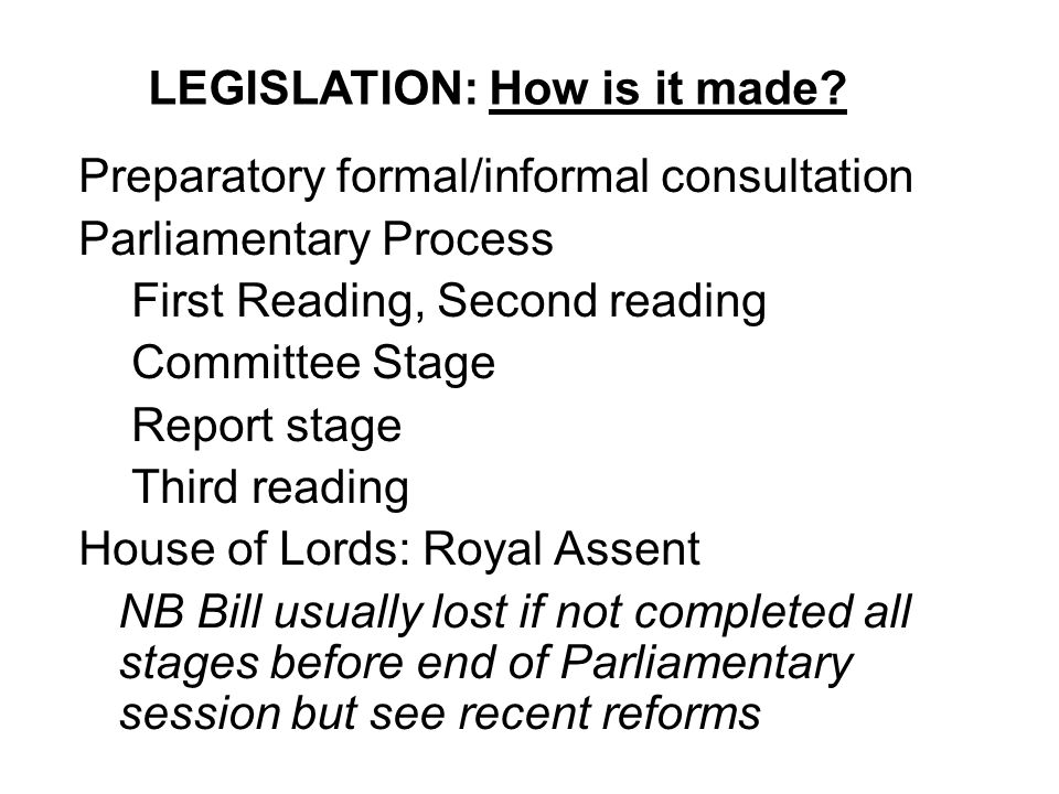 LEGISLATION: How is it made