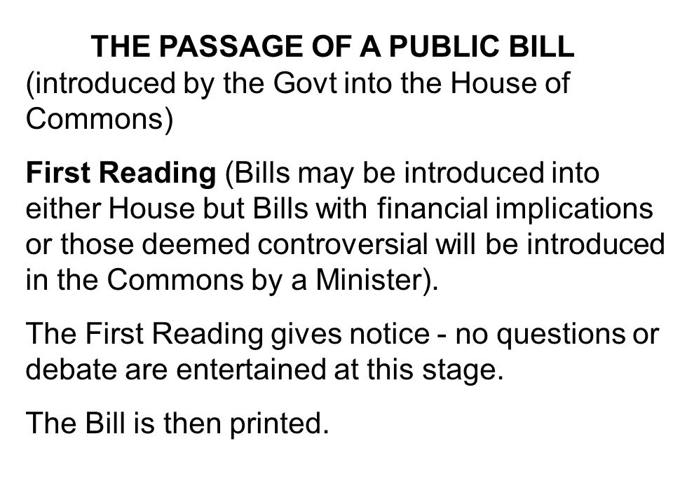 The Bill is then printed.