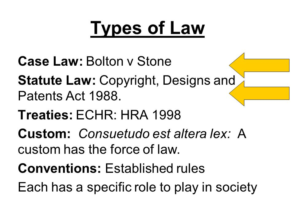Types of Law Case Law: Bolton v Stone