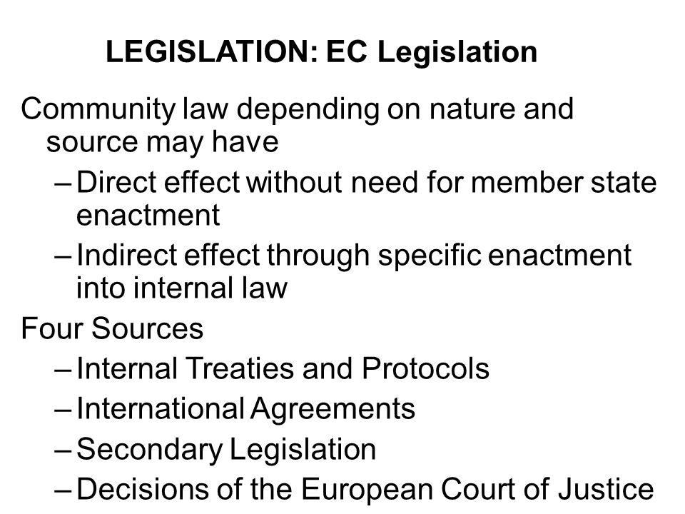 LEGISLATION: EC Legislation