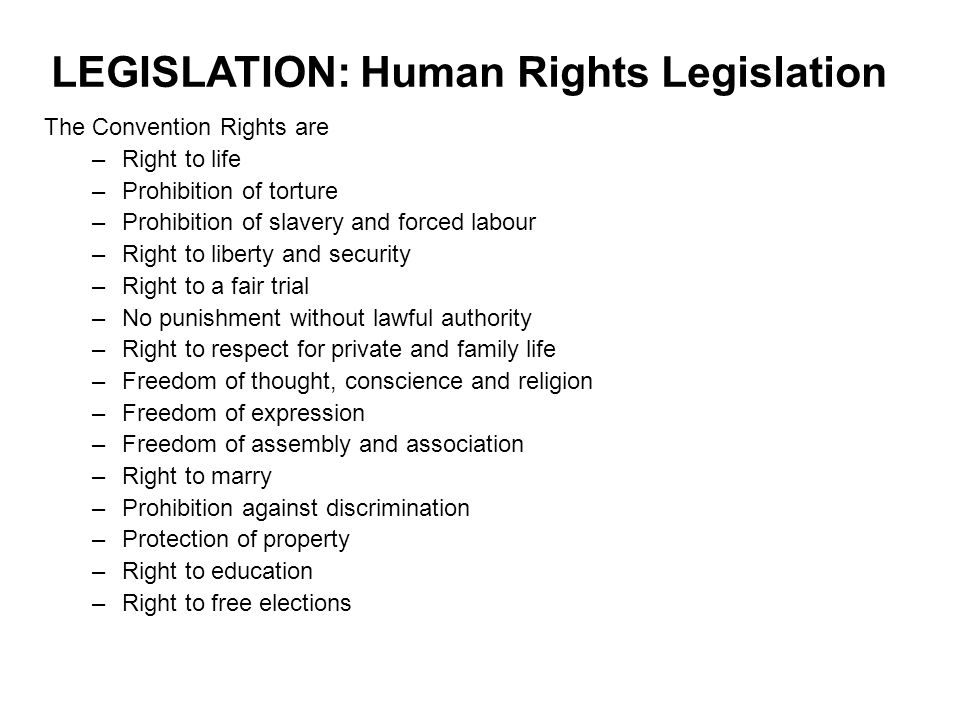 LEGISLATION: Human Rights Legislation